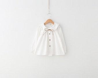 Girls White Peter Pan Collar Blouse Top 100% cotton size 2T - 3T