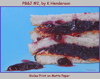 "Art Print, ""PB&J #2"" by K Henderson, Food Art, Peanut Butter and Jelly, Giclee on Matte Paper"