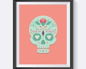 Sugar Skull Print, Sugar Skull, Pink, Nursery Art, Office Art, Digital Print Wall Art