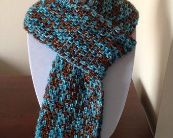 Women's multicoloured (blue and brown) handmade crochet scarf