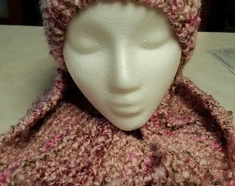 Pink Mocha Infinity Scarf and Hat Set
