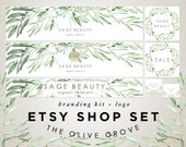Etsy Shop Banner Set - Watercolor Leaves - Sage Green Olive Branch - Premade Logo Design - Shop Icon Custom Reserved  - Store Graphics Kit 6