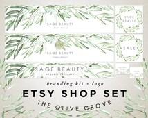 Etsy Shop Banner Set - Watercolor Leaves - Sage Green Olive Branch - Premade Logo Design - Shop Icon Custom Reserved  - Store Graphics Kit 6