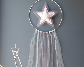 DreamCatcher (dreamcatcher) chic star pink glitter decorating baby's room, little girl and Princess. Realization by hand.