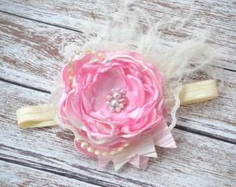 Child Headband, Pink and Cream Flower Headband