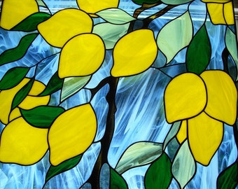 Lemons Picture / Stained Glass Wall Hanging / Lemon Art / Lemon Decor / Stained Glass Art / Glass Picture