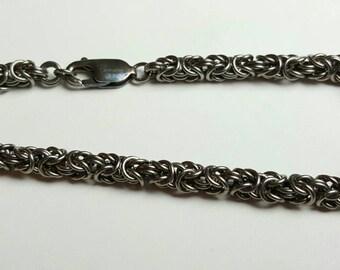 Handmade Niobium Micro-Byzantine Bracelet with Oxidized Sterling Silver Clasp