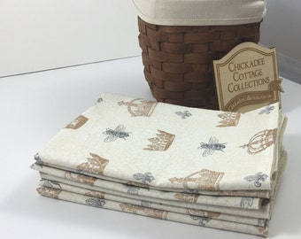 Cotton Fabric Napkins - French Country Cottage Napkins - Christmas Stocking Stuffers - Hostess Gift -Teacher Gift - Last Minute Gifts