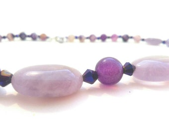 Purple agate necklace, gemstone, semiprecious stones, elegant, young.