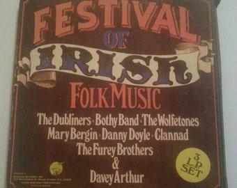 Vintage Record Album Three L.P. Set Festival of Irish Folk Music