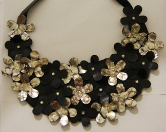 leather necklace with flowers