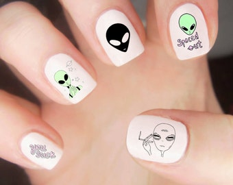 Space Nail Decals / Alien Nail Decals / Kawaii Nail Decals / Cute Nail Decal / Planet Nail Decals / Trippy Nail Decal / 90s Nail Decals