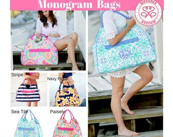 Monogram Beach Bags/ Monogram Bags/ Monogram Overnight bags/ Personalized Bags, Bridesmaids gifts