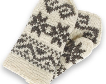Wool mittens - Latvian mittens - double mittens -  hand knit mittens - patterned mittens - warm wool mittens - Christmas gift - size S