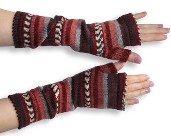 Fingerless Gloves Arm Warmers knitted Armwarmers colorful Fingerless Gloves brown grey Arm Warmers knit Accessories