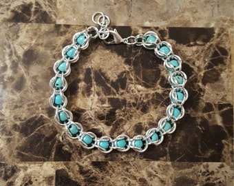 Natural Turquoise Beads Captive Bracelet