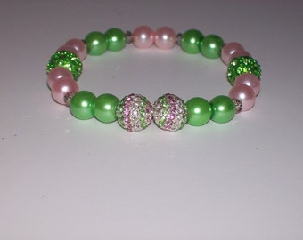 Beautiful Pink and Green Beaded Stretch Bracelet