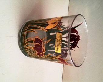 Culver Iris Cinnabar Set of Six (6) Double Old Fashioned Glass with 22k Gold Accents; New VIntage