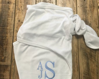 Personalized Baby Swaddler, Baby Name Swaddle Blanket Embroidered Monogram