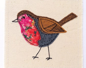 Robin greeting card- personalised textile art, embroidery fabric applique picture, Garden bird nature wildlife birthday