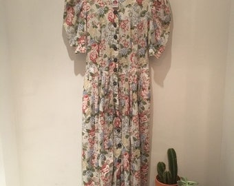 Vintage 1980s puff sleeve dress