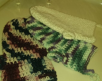 Crochet cotton spa mitt
