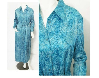 R2R Shirtwaist Dress, Size: 12, Blue Snakeskin Print, Long Sleeves, Button Front, Shirtwaist Styling, Sheath Without Belt, Vintage With Tags