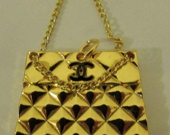 Vintage Chanel charm pendant handbag CC logo gold tone