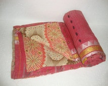 Vintage Light weight Kantha Quilt Reversible Throw Bedspread Bedding E814
