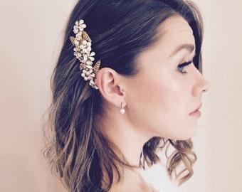 Swarovski Bridal Hair Comb, Pearl Headpiece, Gold Leaf Hair Comb