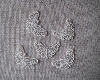 5 Butterfly Ivory Appliques Venise Lace for Bridal, Garters, Scrapbooking, Jewelry or Costume Design