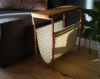 Slim Side Coffee Table with Magazine Holder