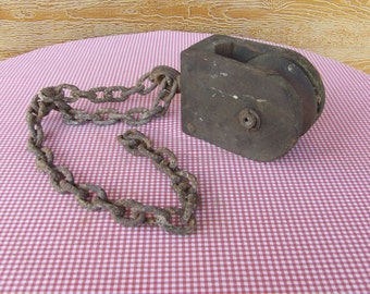 Vintage Wooden Barn Pulley with chain