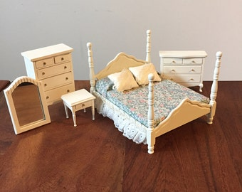 Dollhouse Furniture 1:12 scale, White Bedroom with Brass accents - 7 pieces total with removeable drawers