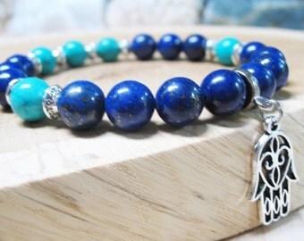 Hamsa Bracelet Lapis Lazuli Bracelet Turquoise Bracelet Good Luck Bracelet Throat Chakra Bracelet Healing Bracelet Hamsa Charm Yoga Bracelet