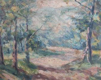 Antique impressionist landscape oil painting forest landscape