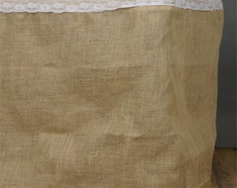 Jute Table Skirt - Natural Burlap available in sizes 14ft 17ft and 21ft