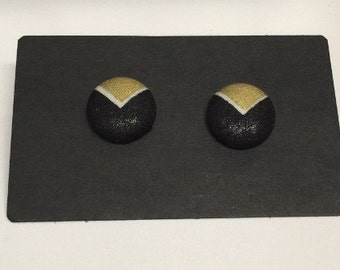 Black & Gold Fabric Covered Stud Earrings