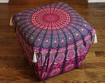 Padded Footstool Refinished with Boho Fabric and Tassels *** (Chicago area pick-up and delivery only)
