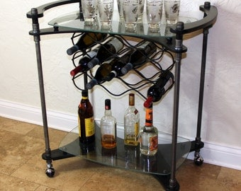Custom, Handmade, One-of-a-Kind, Iron Pipe and Glass Bar Cart ****This Item Cannot Be Shipped*****