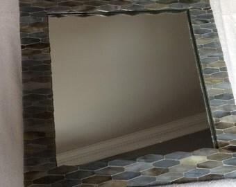 Handmade Blue/Grey Ceramic Tile  Wall Mirror