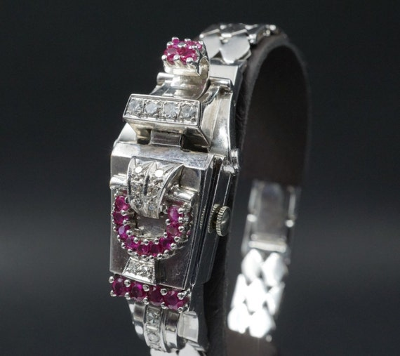 1940s Retro 18k White Gold 1.5 ct Diamond Ruby Women's Watch Bracelet CO054