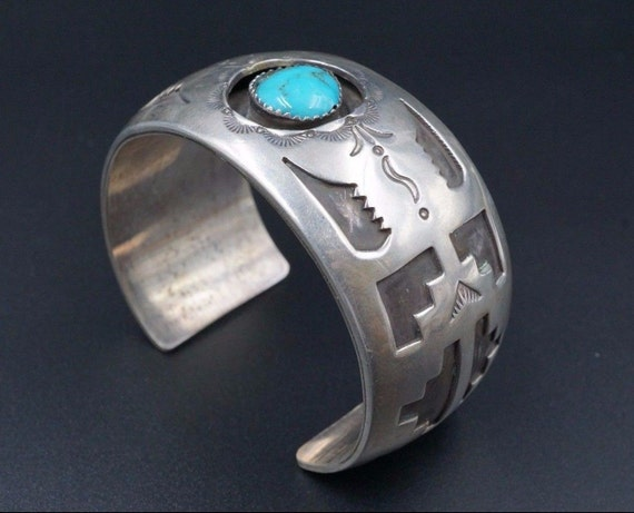 """Rare Navajo Sterling Silver Hand Stamped Turquoise Cuff Bracelet Signed EJ 6.5"""" BS886"""