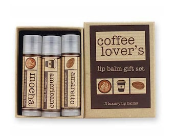 Coffee Lover's lip balm gift set