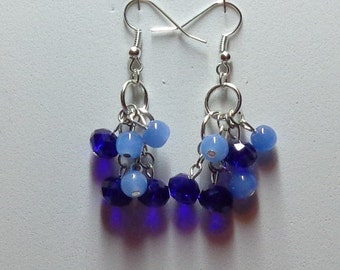 Earrings made with blue glass beads