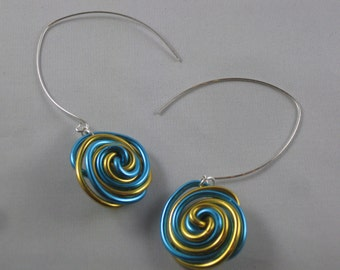 Candy Cane Spiral Wire Earrings