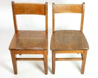 Vintage Industrial Wooden School Child's Chair