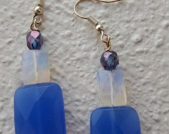 Opalescent Blue Glass Earrings