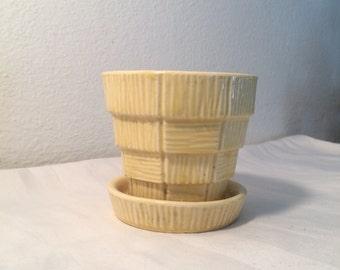 Vintage McCoy Planter Basket Weave