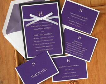 Attractive Initial Wedding Invitation Set - Ribbon Invitation Suite - Elegant Wedding Invite - Simple Wedding Invitations - AV1209